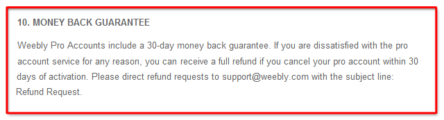 weebly pro guarantees refund