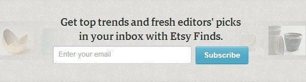 Etsy alternatives - Email Capture