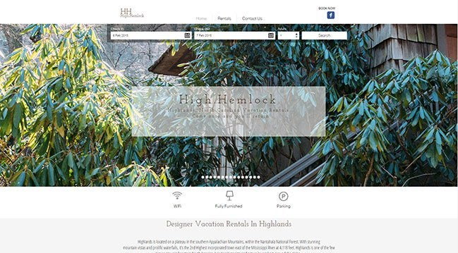 Example of hotel website created by Wix