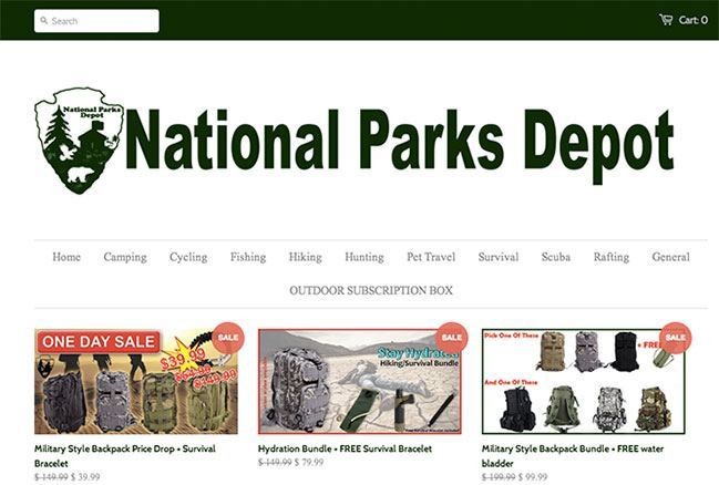 E-commerce examples - national parks depot