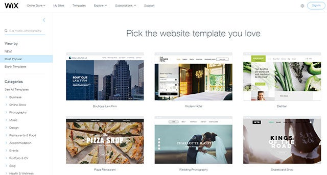 Web Design software - Wix templates
