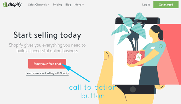 home page design call to action