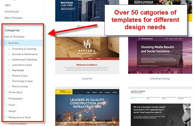 wix templates categories
