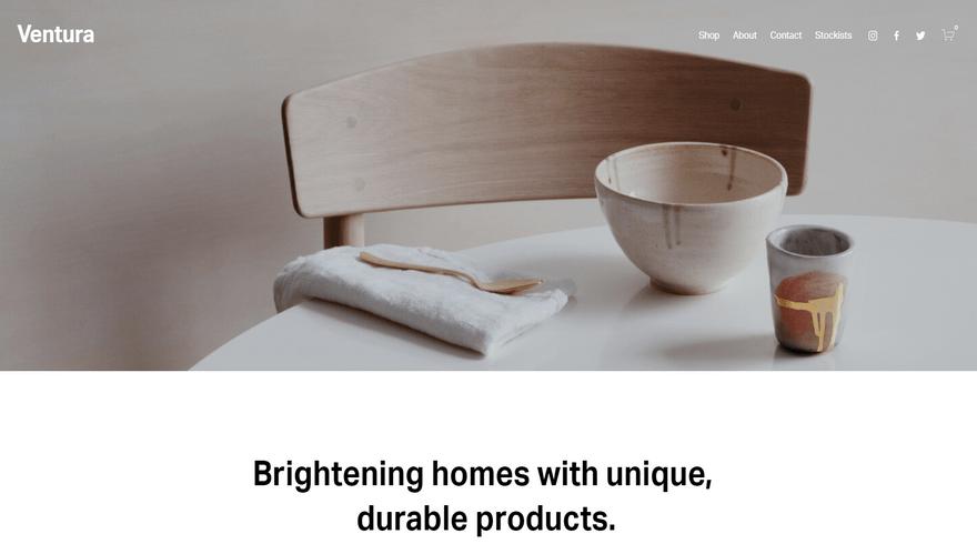 squarespace ecommerce online store template ventura