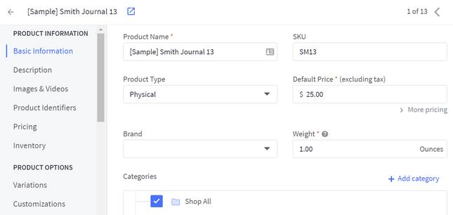 adding products on bigcommerce