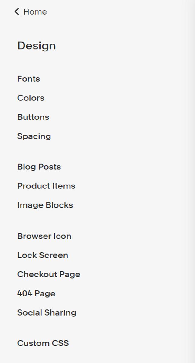 squarespace design menu example