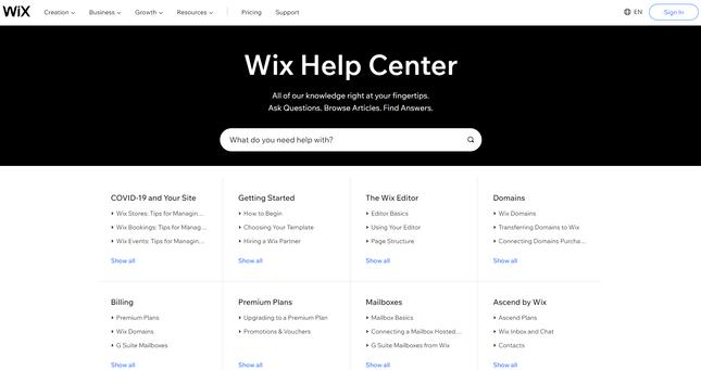 wordpress vs wix help center