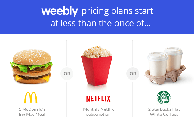 weebly pricing comparison with everyday items