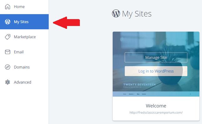 BlueHost WordPress Installation My Sites