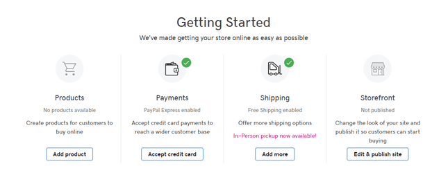 GoDaddy's ecommerce page