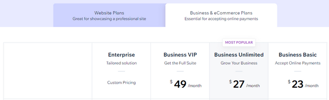 wix business and ecommerce plans