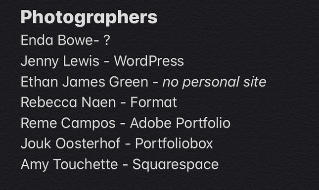 photography website tools