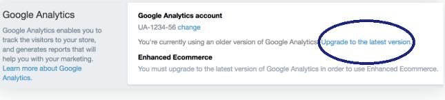 Shopify Upgrade Google Analytics