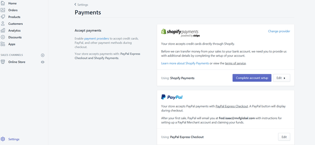 shopify payments online boutique