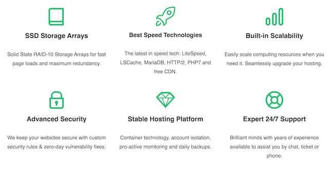 Green Geeks Django hosting benefits screenshot