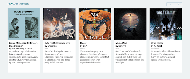 Bandcamp New and Notable section screenshot