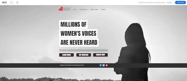 Social NGO nonprofit template by Wix