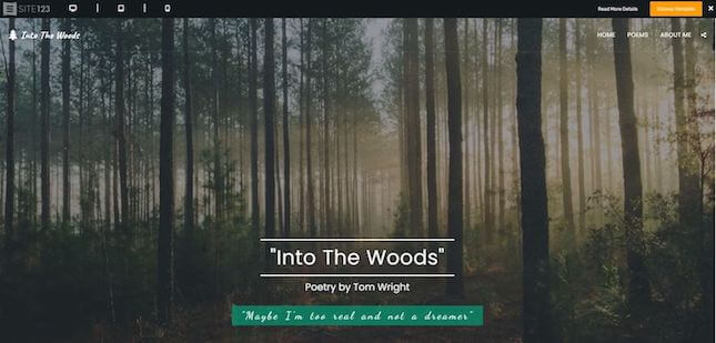 Into the Woods nonprofit template by Site123
