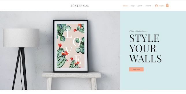 Poster Store by Wix artist website template