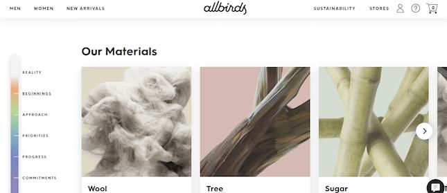 Allbirds' Our Materials page screenshot