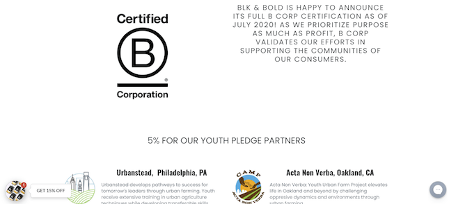 BLK and Bold B Corp Status page from its Shopify store