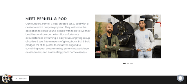 About Us page from BLK & Bold