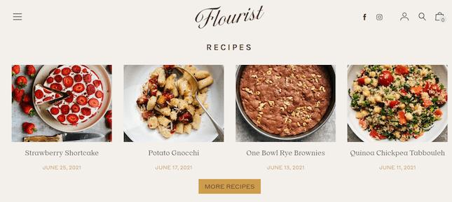 Flourist's recipe page