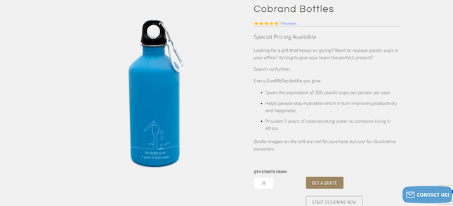 A Give Me Tap! Cobrand Bottle product page