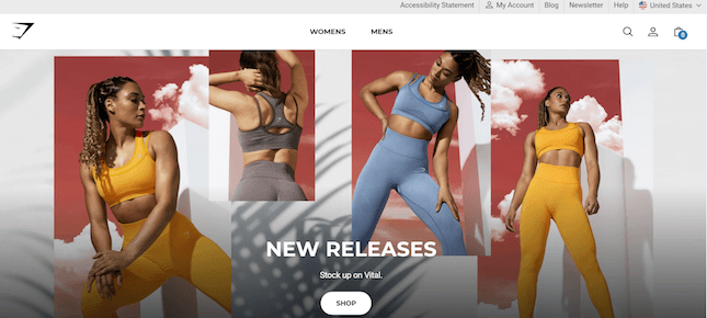 Gymshark's Shopify store's new releases page