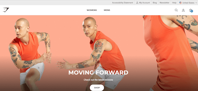 Gymshark's Moving Forward page