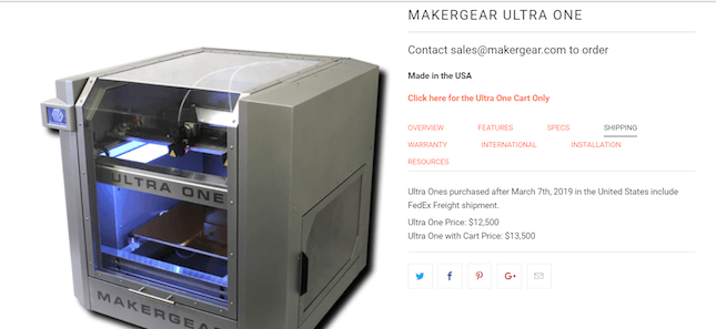 MakerGear's social links on product page