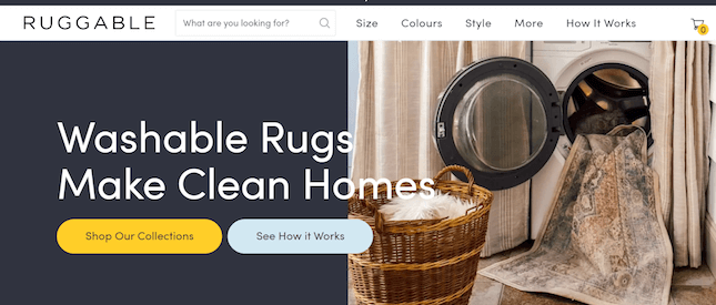 Ruggable's online store's homepage