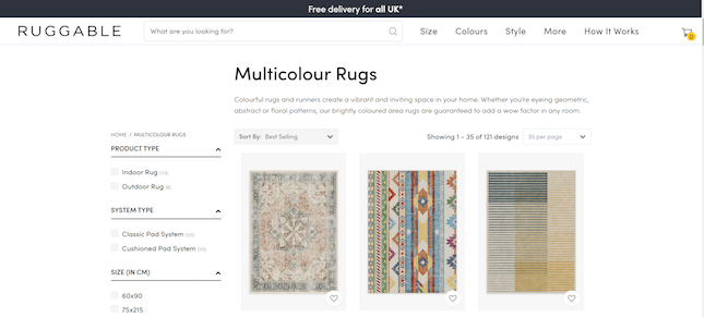 Ruggable's multicolored rugs