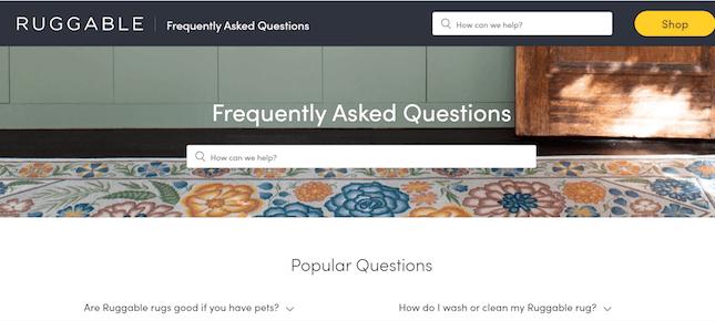 Ruggable's FAQ page