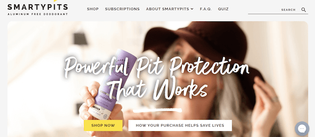 SmartyPits's Shopify store homepage