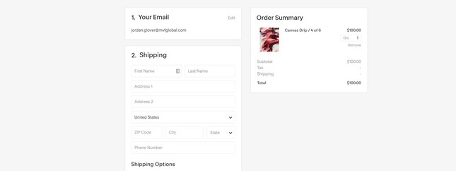 Squarespace Classon Template Checkout and Shipping