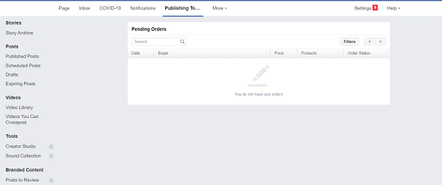 Pending orders dashboard Facebook Shops