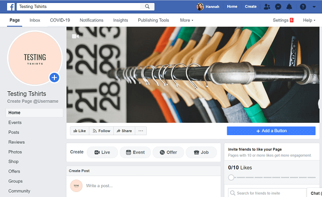 Find the 'Shop' tab on your Facebook Business Page