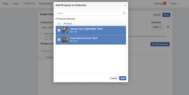 Adding products to a Facebook Shops collection