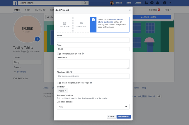 Facebook Shops: add product information
