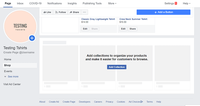 Add product collection on Facebook Shops