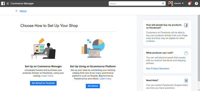Setting up Facebook Commerce Manager