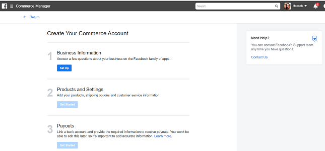 FAcebook Shops: commerce account info