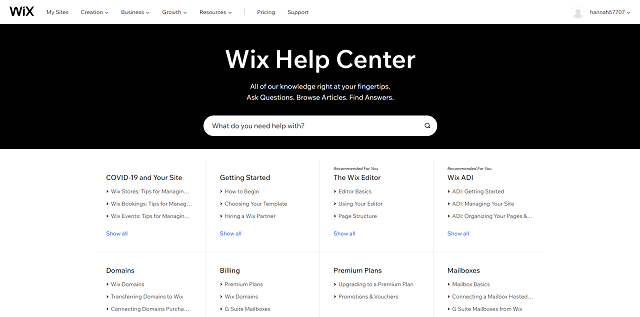 Wix's help center is comprehensive and regularly updated
