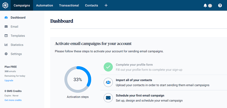Sendinblue Review dashboard