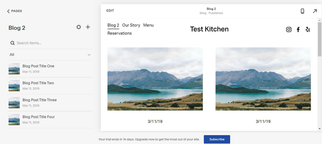 Sample blog layouts Squarespace