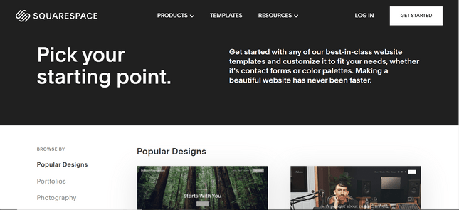 Squarespace template gallery