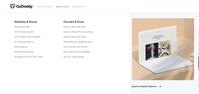 Godaddy - select website builder or online store