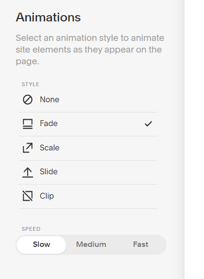 Animation options Squarespace