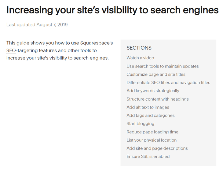 squarespace seo support page
